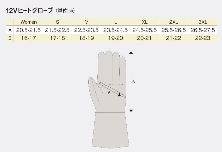 ヒートマスター 電熱グローブの選び方|サイズ