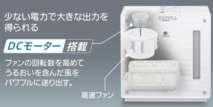 パナソニックのDCモーター搭載、気化式加湿器ならパワフルなのに静か!